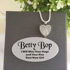 Cat Memorial Urn Heart Necklace In Personalised Box