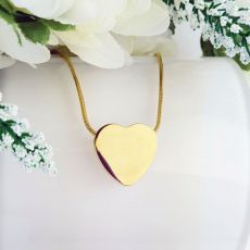 Gold Heart Memorial Urn Cremation Ash  Necklace