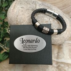 16th Birthday Braided Leather Bracelet Gift Boxed