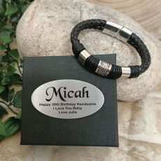 30th Birthday Braided Leather Bracelet Gift Boxed