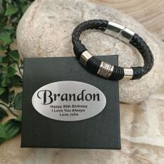 80th Birthday Braided Leather Bracelet Gift Boxed