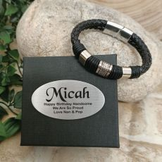 Birthday Braided Leather Bracelet Gift Boxed