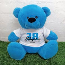 Personalised Birthday Bear with T-Shirt - Blue 40cm