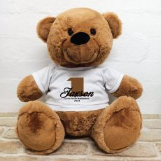 1st Birthday Personalised Bear with T-Shirt - Brown 40cm
