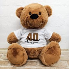 40th Birthday Personalised Bear with T-Shirt - Brown 40cm