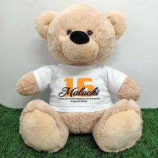 16th Birthday Personalised Bear with T-Shirt - Cream  40cm