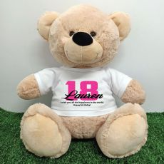 18th Birthday Personalised Bear with T-Shirt - Cream  40cm