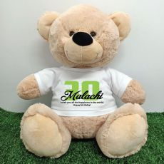 30th Birthday Personalised Bear with T-Shirt - Cream  40cm