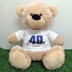 40th Birthday Personalised Bear with T-Shirt - Cream  40cm