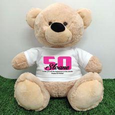 50th Birthday Bear with T-Shirt 40cm Cream