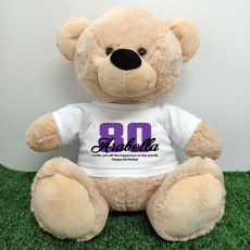 80th Birthday Personalised Bear with T-Shirt - Cream  40cm