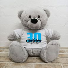 30th Birthday Personalised Bear with T-Shirt - Grey 40cm