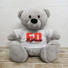 60th Birthday Personalised Bear with T-Shirt - Grey 40cm