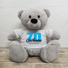 70th Birthday Personalised Bear with T-Shirt - Grey 40cm