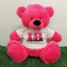 18th Birthday Personalised Bear with T-Shirt - Hot Pink 40cm