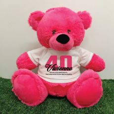 40th Birthday Personalised Bear with T-Shirt - Hot Pink 40cm