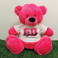 60th Birthday Personalised Bear with T-Shirt - Hot Pink 40cm