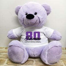 80th Birthday Personalised Bear with T-Shirt - Lavender 40cm