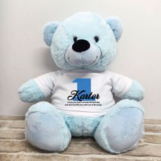 1st Birthday Personalised Bear with T-Shirt - Light Blue 40cm