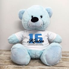 16th Birthday Personalised Bear with T-Shirt - Light Blue 40cm