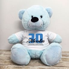 30th Birthday Personalised Bear with T-Shirt - Light Blue 40cm