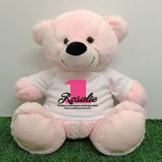 1st Birthday Personalised Bear with T-Shirt - Light Pink 40cm