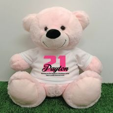 21st Birthday Personalised Bear with T-Shirt - Light Pink 40cm