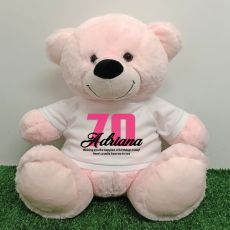 70th Birthday Personalised Bear with T-Shirt - Light Pink 40cm