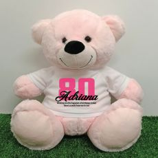 80th Birthday Personalised Bear with T-Shirt - Light Pink 40cm