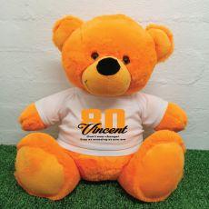 80th Birthday Personalised Bear with T-Shirt - Orange 40cm