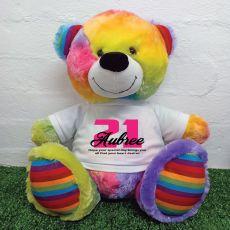21st Birthday Personalised Bear with T-Shirt - Rainbow  40cm