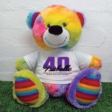 40th Birthday Personalised Bear with T-Shirt - Rainbow  40cm