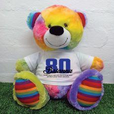 80th Birthday Personalised Bear with T-Shirt - Rainbow  40cm