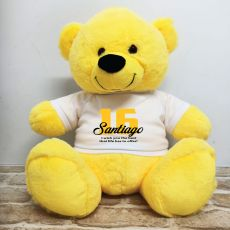 16th Birthday Personalised Bear with T-Shirt - Yellow 40cm