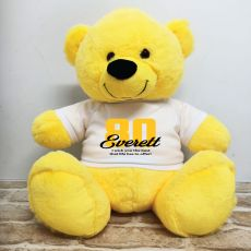 80th Birthday Personalised Bear with T-Shirt - Yellow 40cm