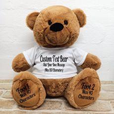 Custom Message Teddy Bear with T-Shirt Brown 40cm