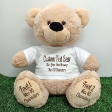 Custom Message Teddy Bear with T-Shirt Cream 40cm