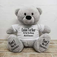 Custom Message Teddy Bear with T-Shirt Grey 40cm