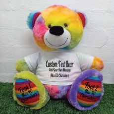 Custom Message Teddy Bear with T-Shirt Rainbow 40cm