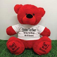 Custom Message Teddy Bear with T-Shirt Red 40cm