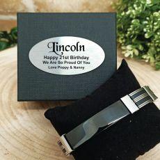 21st Birthday ID Link Bracelet In Personalised Box