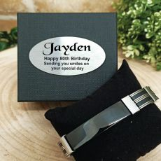 80th Birthday ID Link Bracelet In Personalised Box