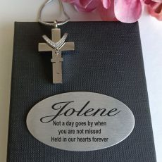Silver Cross Memorial Urn Cremation Ash Necklace In Personalised Box