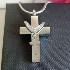 Silver Cross Memorial Urn Cremation Ash Necklace