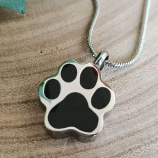 Pawprint Memorial Urn Cremation Ash Necklace