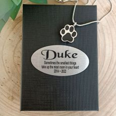 Pawprint Memorial Urn Cremation Ash Necklace In Personalised Box