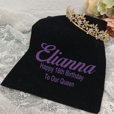 16th Birthday Gold Vine Tiara in Personalised Bag