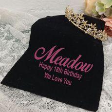 18th Birthday Gold Vine Tiara in Personalised Bag