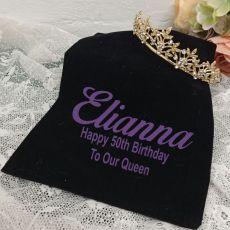 50th Birthday Gold Vine Tiara in Personalised Bag