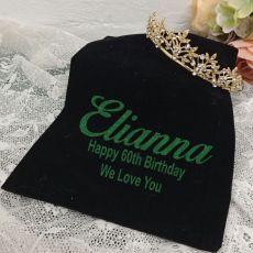 60th Birthday Gold Vine Tiara in Personalised Bag